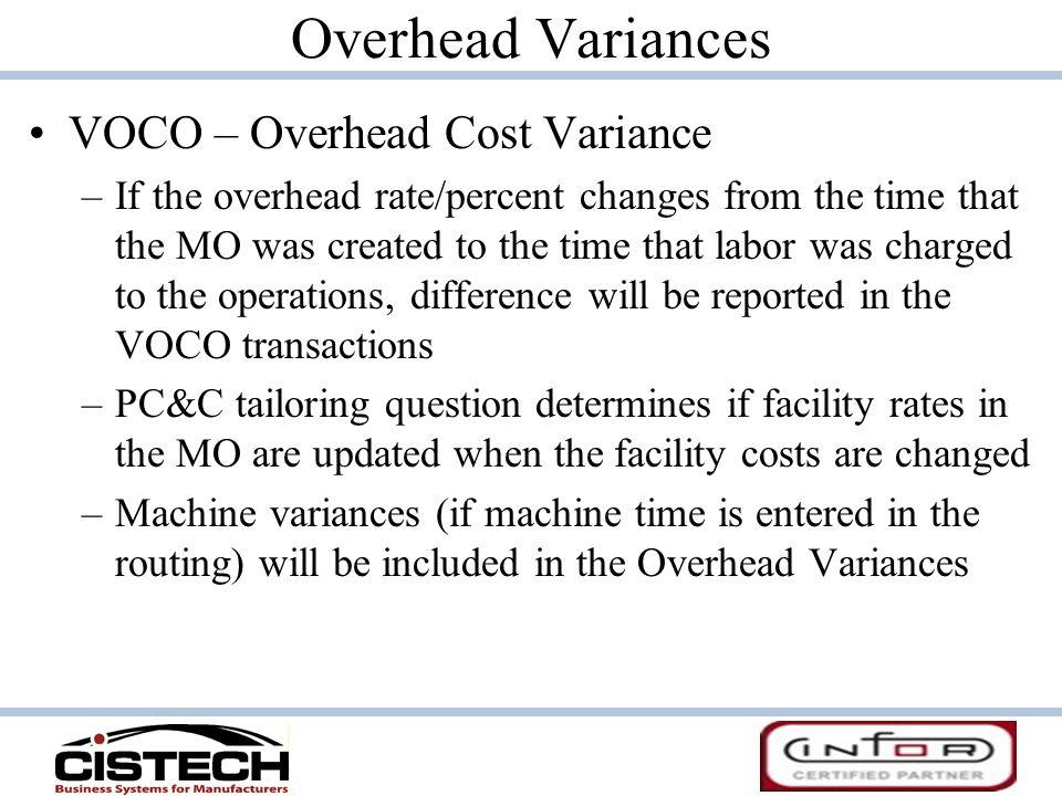 Overhead Variances VOCO – Overhead Cost Variance
