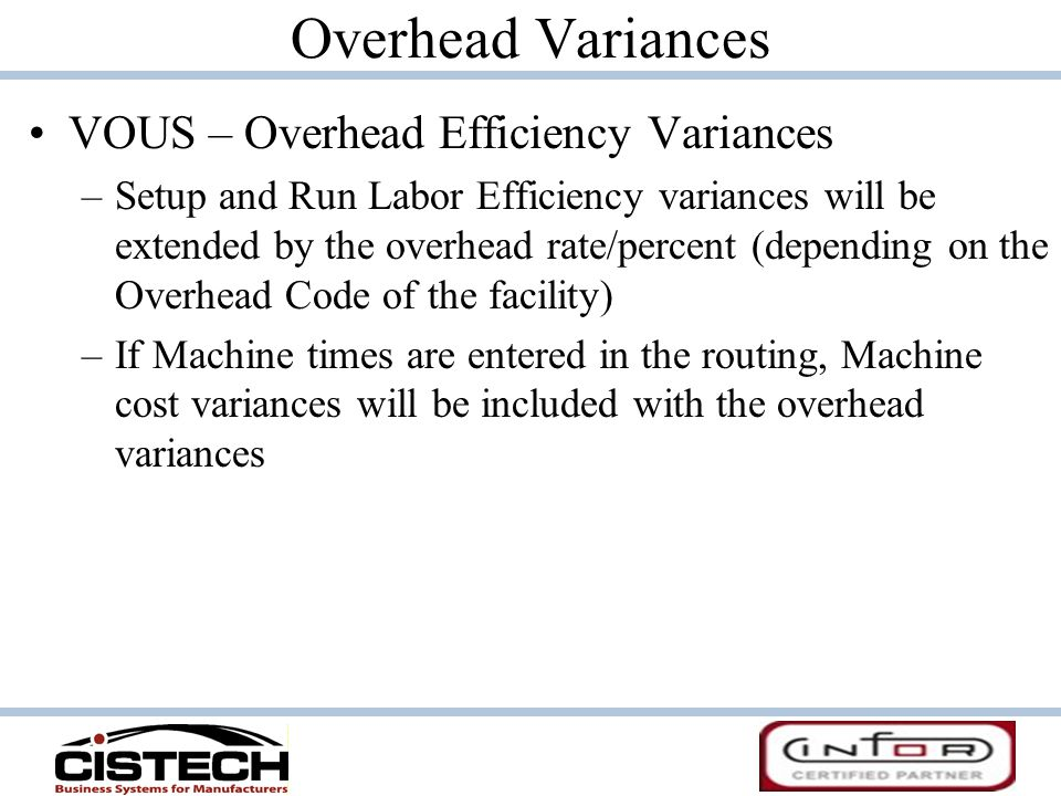 Overhead Variances VOUS – Overhead Efficiency Variances