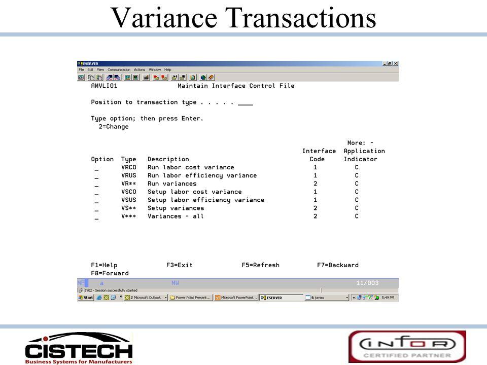 Variance Transactions
