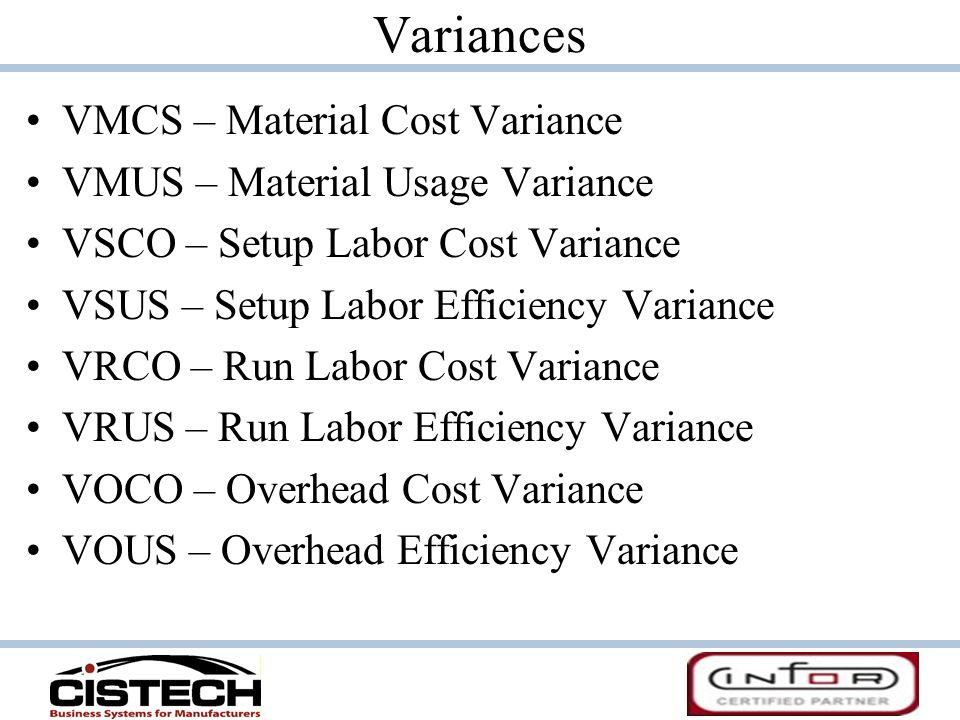 Variances VMCS – Material Cost Variance VMUS – Material Usage Variance