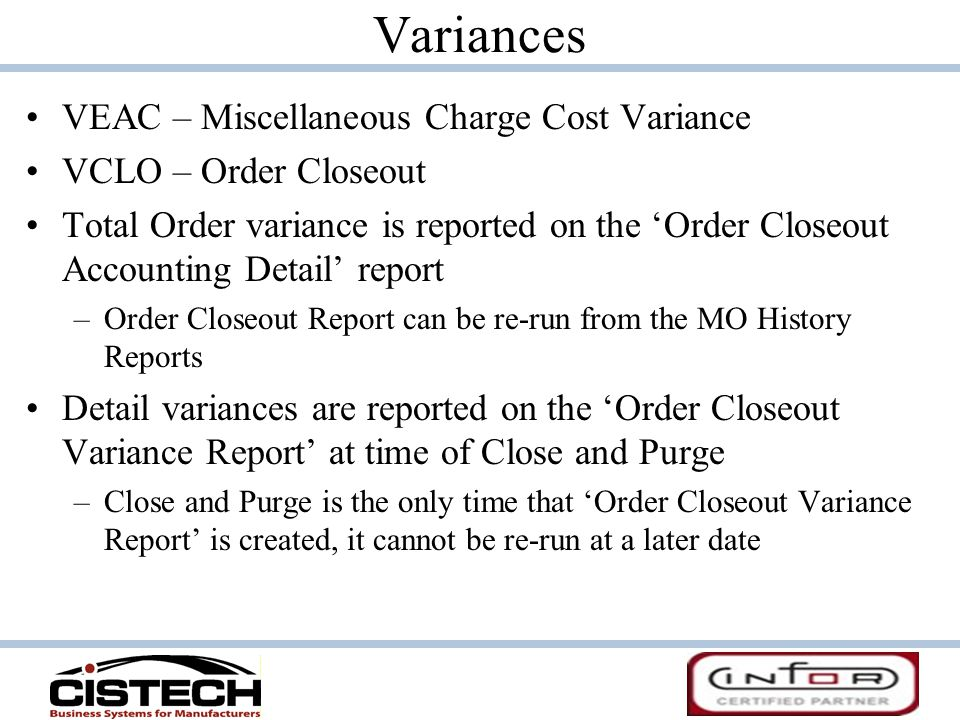 Variances VEAC – Miscellaneous Charge Cost Variance