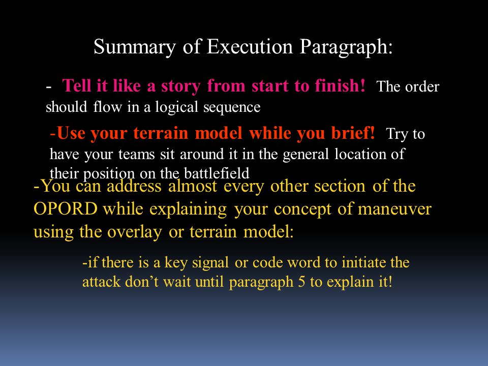 Summary of Execution Paragraph: