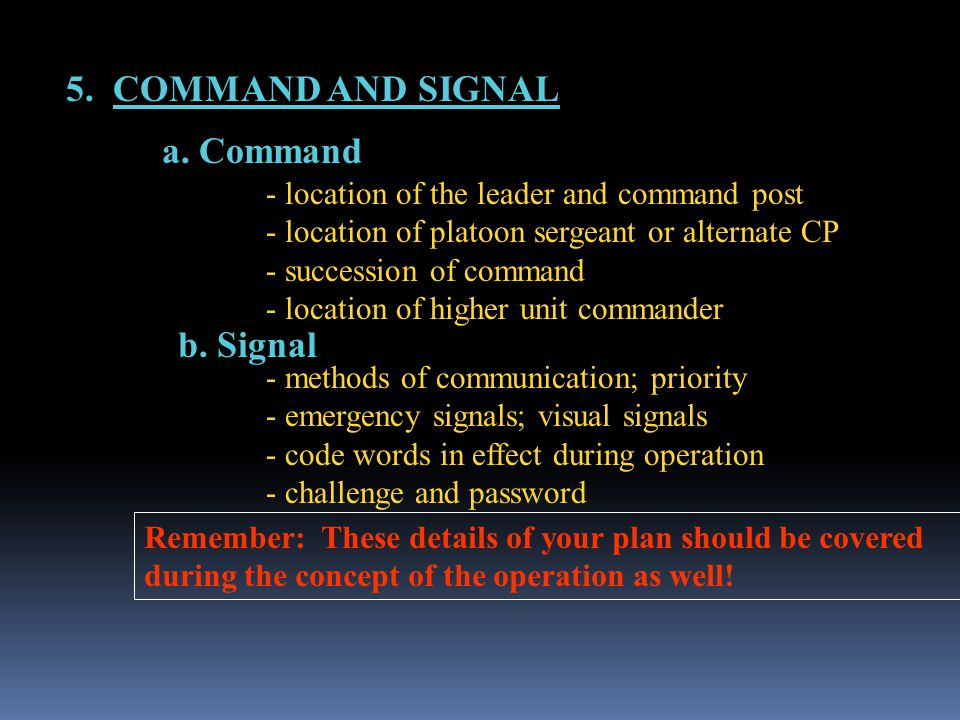 5. COMMAND AND SIGNAL a. Command b. Signal