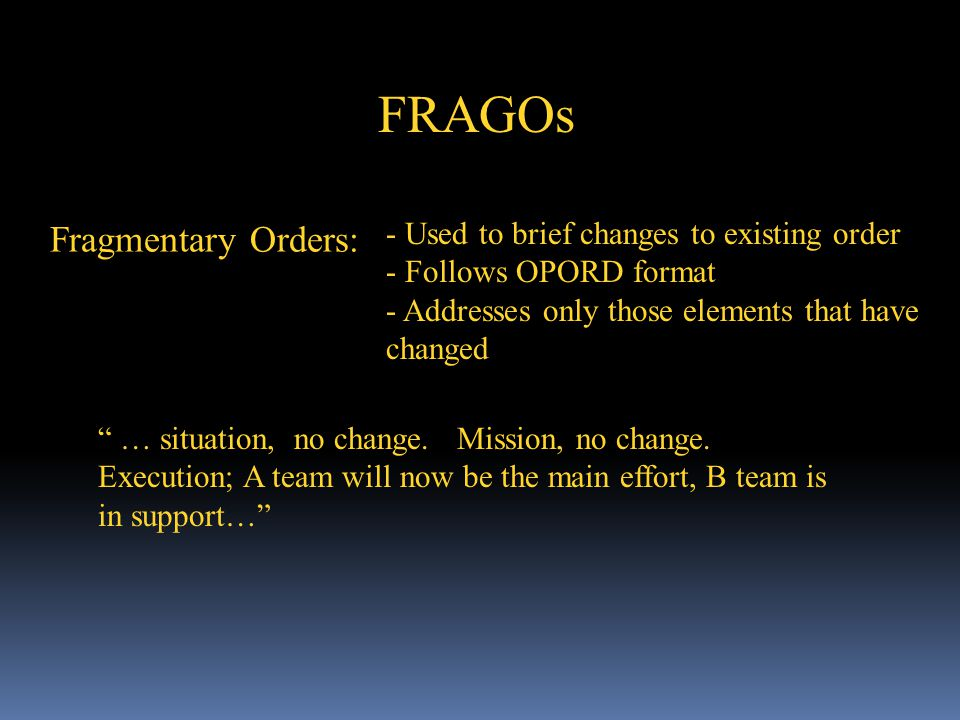 FRAGOs Fragmentary Orders: Used to brief changes to existing order