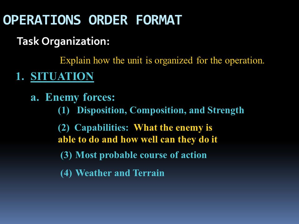 OPERATIONS ORDER FORMAT