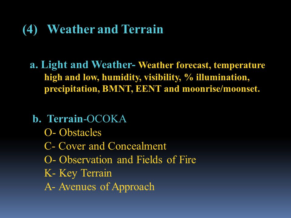 (4) Weather and Terrain