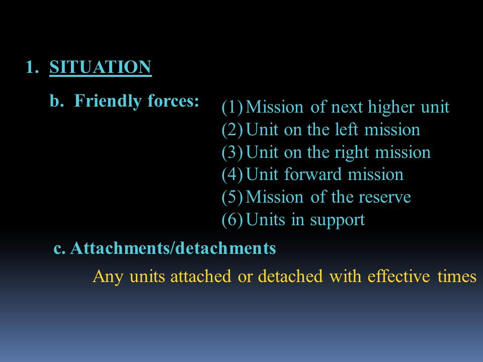 SITUATION b. Friendly forces: Mission of next higher unit. Unit on the left mission. Unit on the right mission.