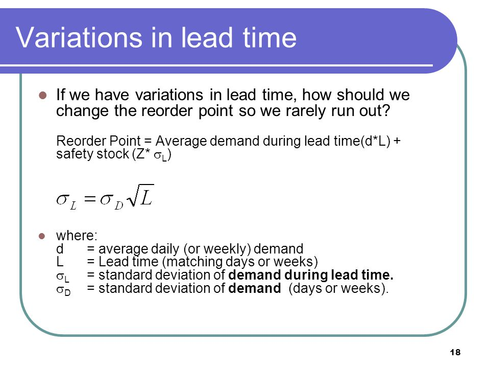 Variations in lead time