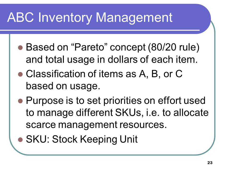 ABC Inventory Management