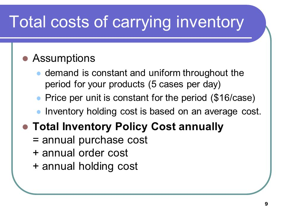 Total costs of carrying inventory