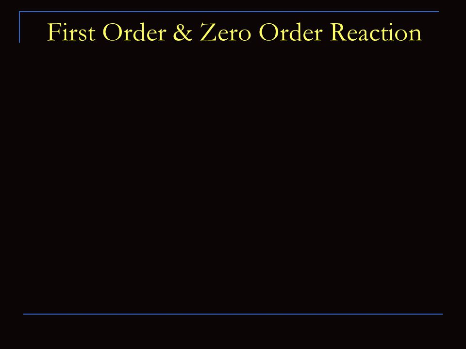 First Order & Zero Order Reaction
