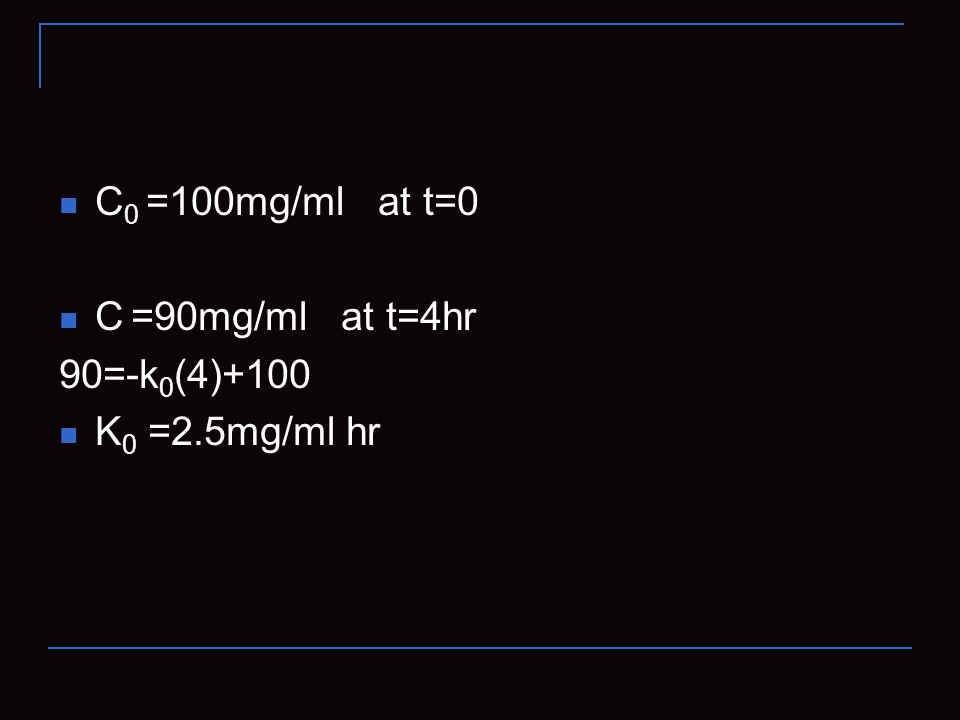 C0 =100mg/ml at t=0 C =90mg/ml at t=4hr 90=-k0(4)+100 K0 =2.5mg/ml hr