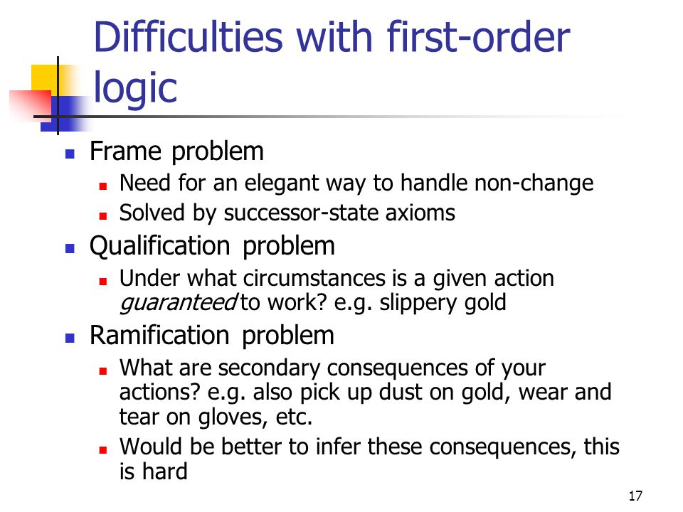 Difficulties with first-order logic