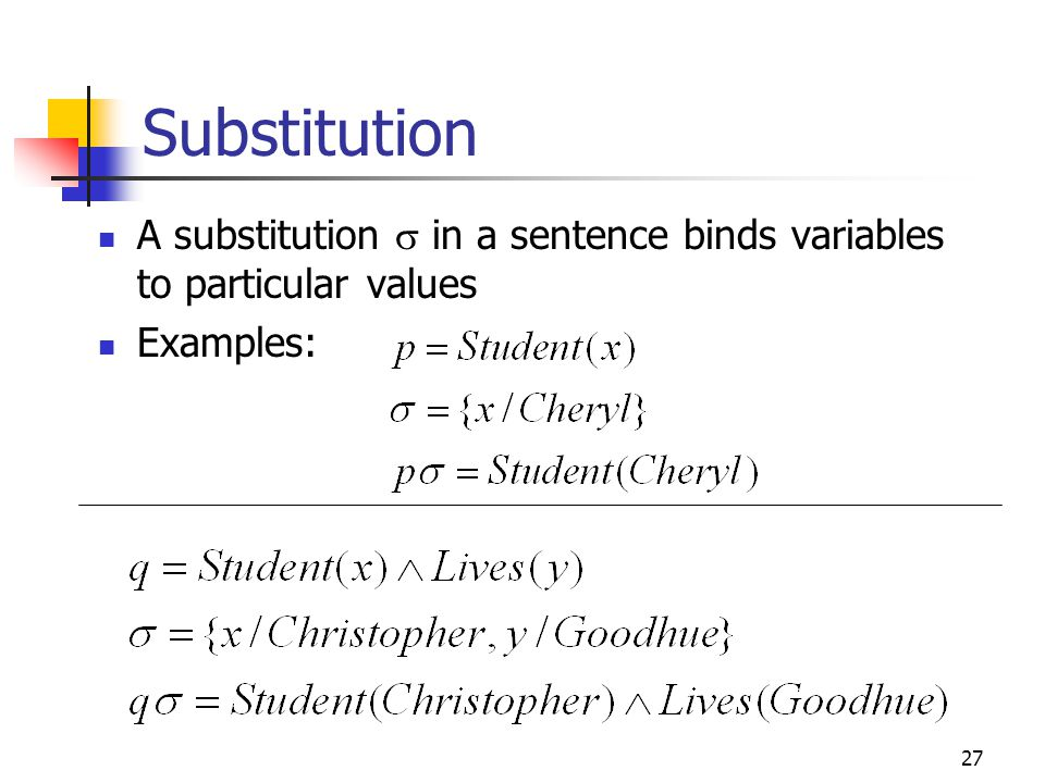 Substitution A substitution s in a sentence binds variables to particular values Examples: