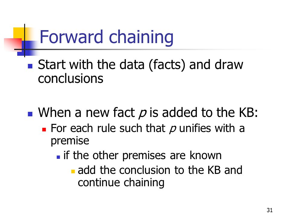 Forward chaining Start with the data (facts) and draw conclusions