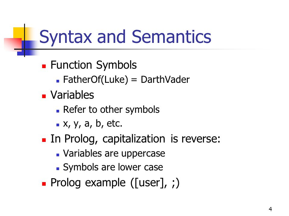 Syntax and Semantics Function Symbols Variables