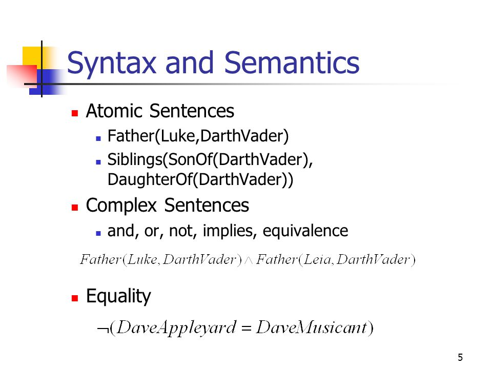 Syntax and Semantics Atomic Sentences Complex Sentences Equality