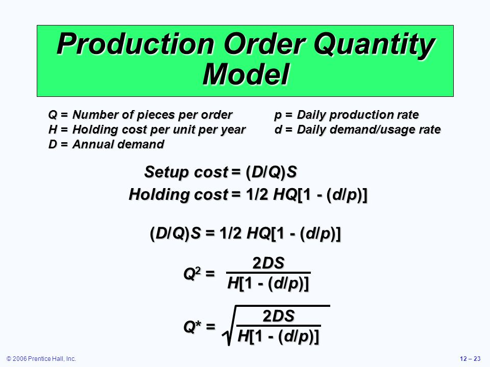 Production Order Quantity Model