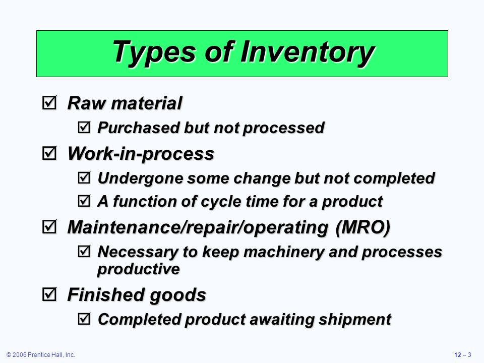 Types of Inventory Raw material Work-in-process