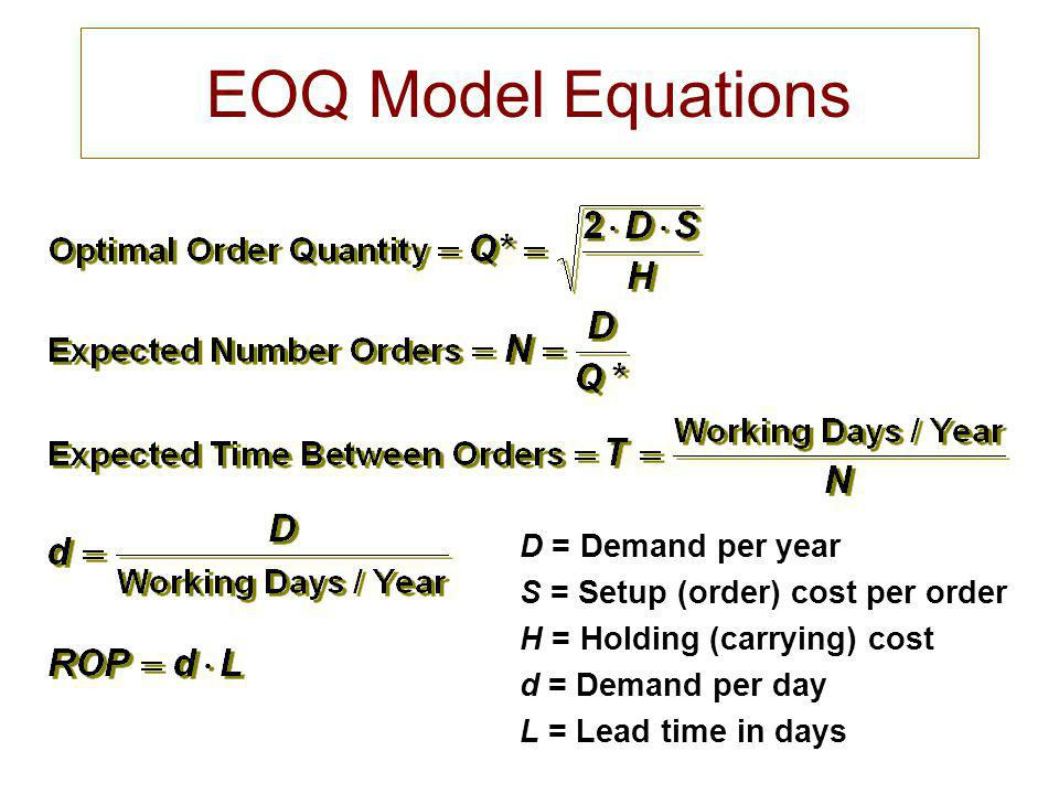 EOQ Model Equations D = Demand per year
