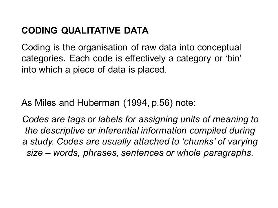 CODING QUALITATIVE DATA