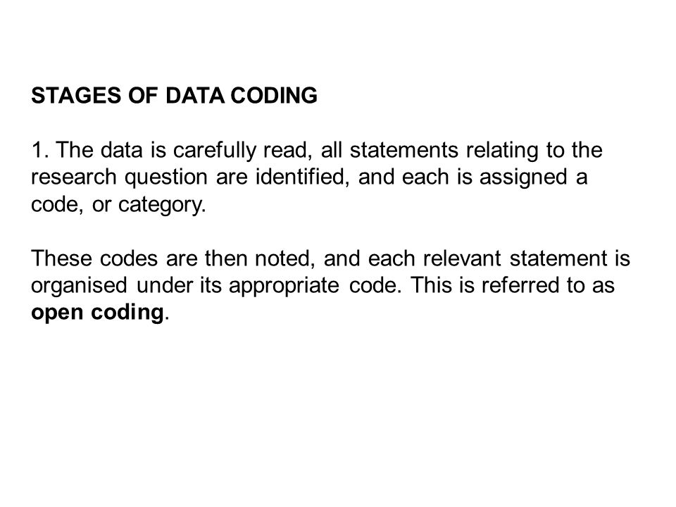 STAGES OF DATA CODING