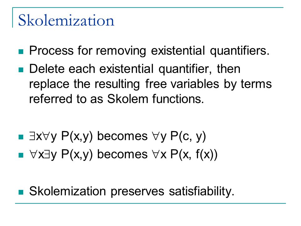 Skolemization Process for removing existential quantifiers.
