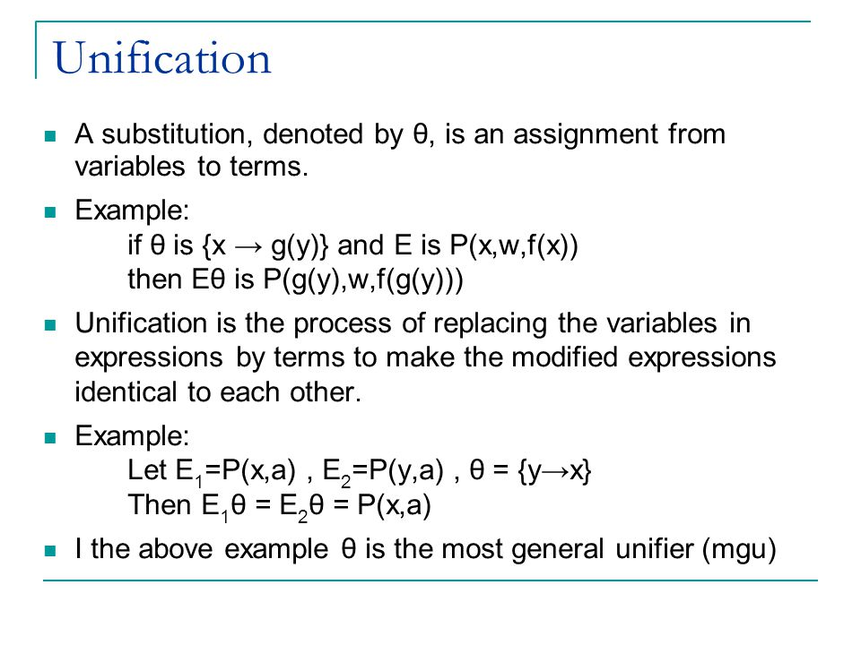 Unification A substitution, denoted by θ, is an assignment from variables to terms.