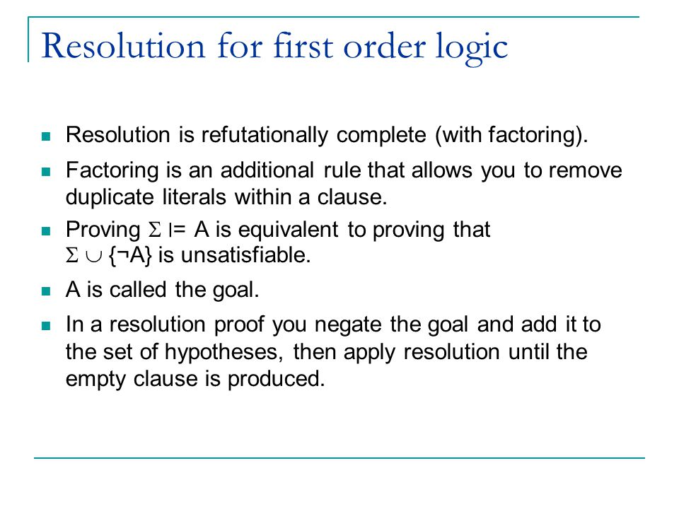 Resolution for first order logic