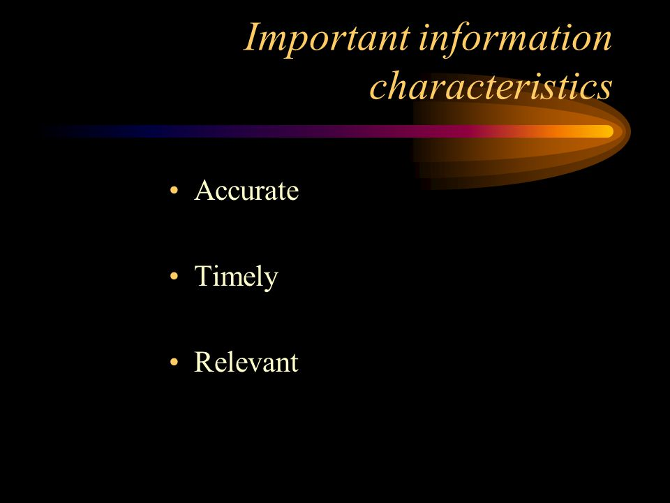 Important information characteristics
