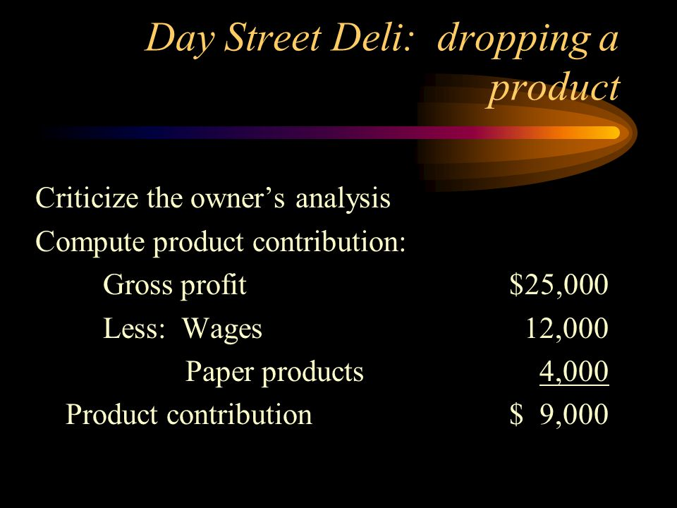 Day Street Deli: dropping a product