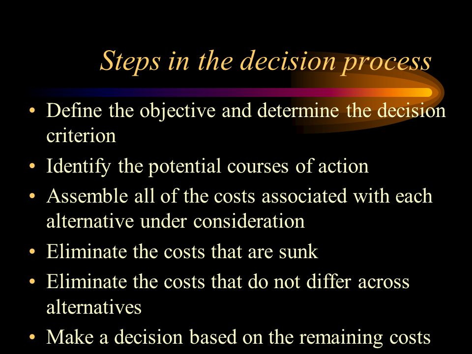 Steps in the decision process