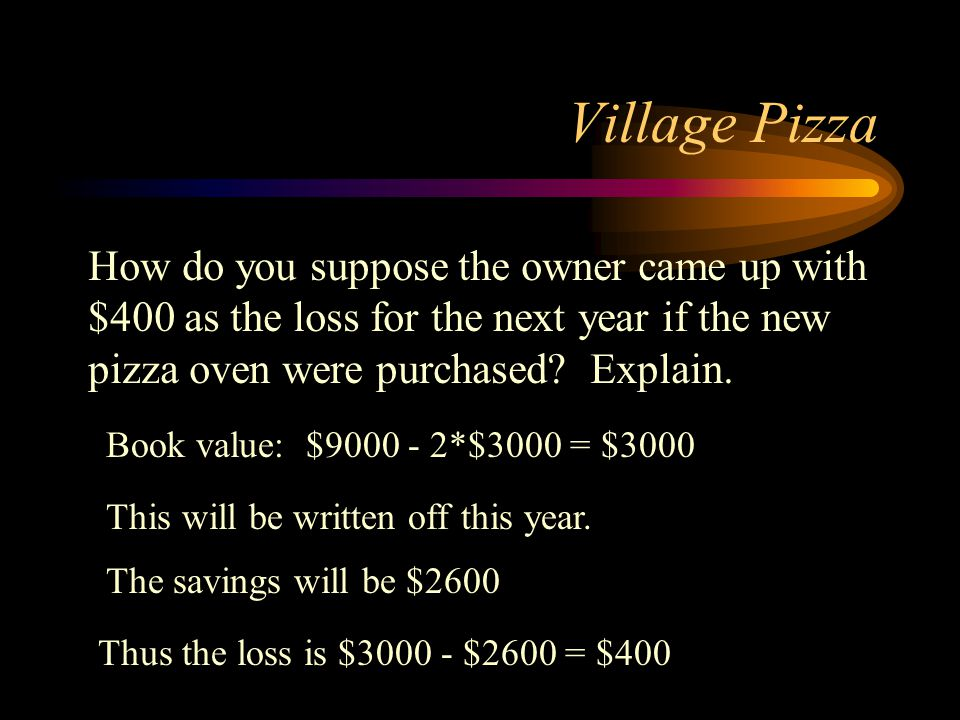 Village Pizza How do you suppose the owner came up with $400 as the loss for the next year if the new pizza oven were purchased Explain.