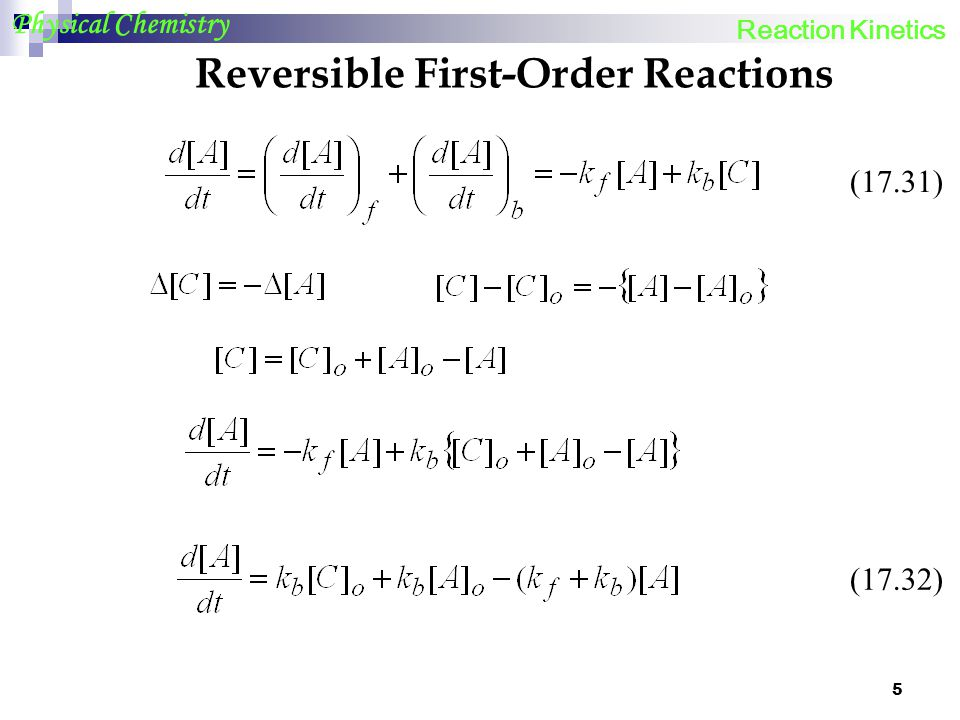 Reversible First-Order Reactions
