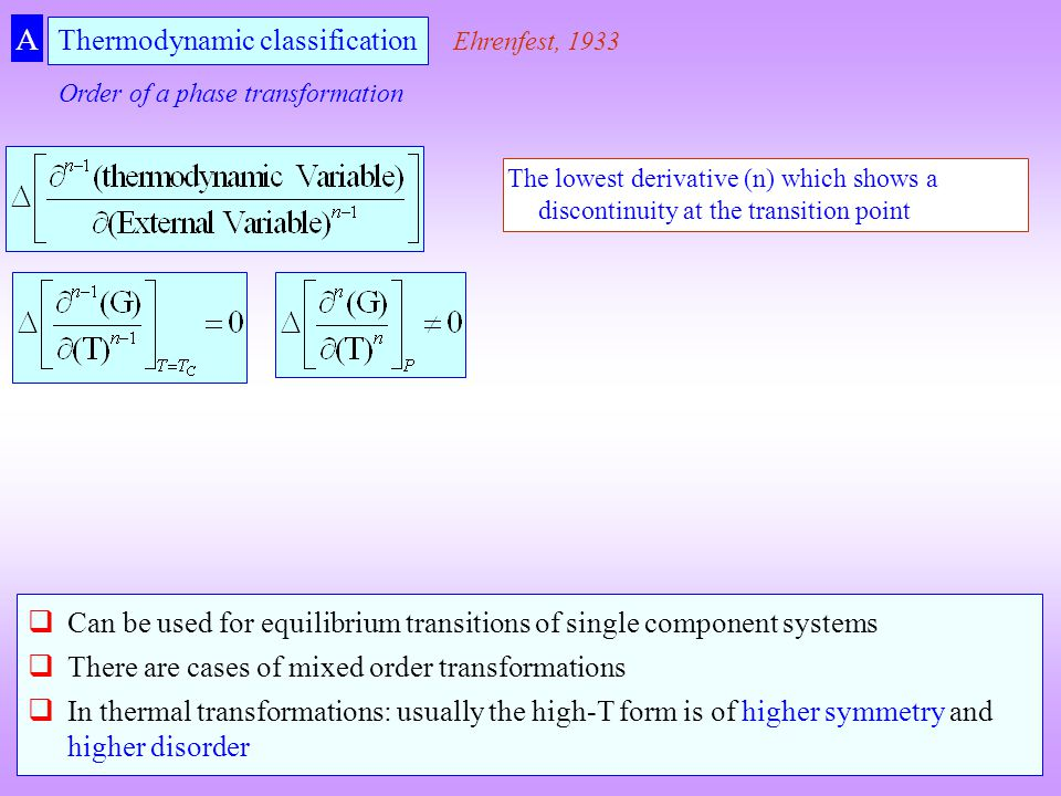 Thermodynamic classification