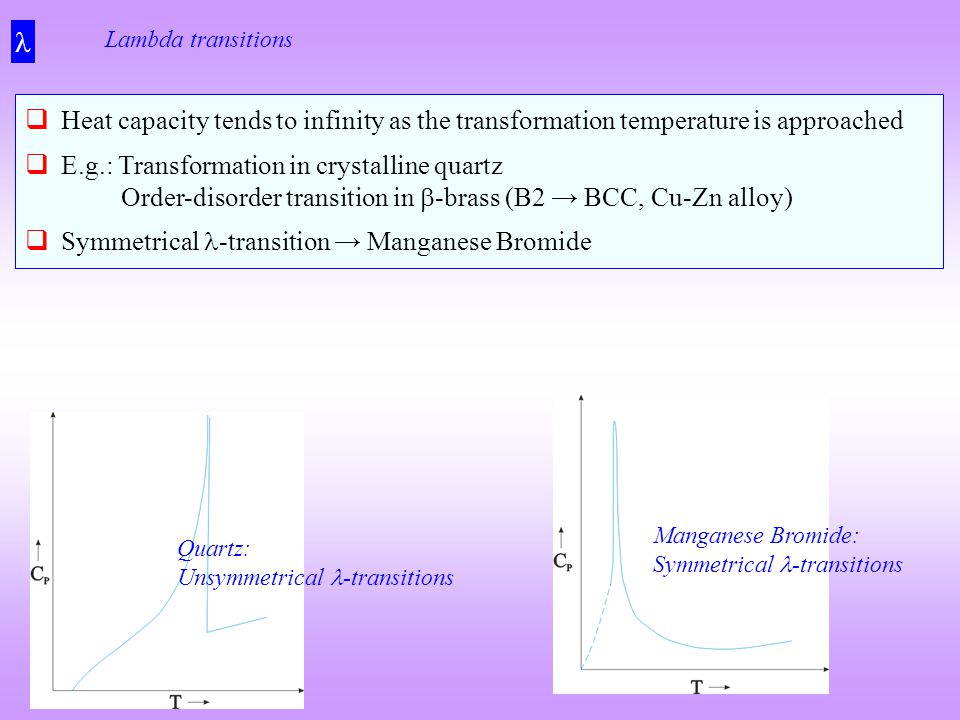  Lambda transitions. Heat capacity tends to infinity as the transformation temperature is approached.