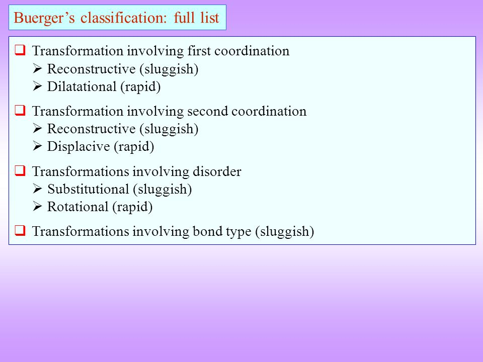 Buerger's classification: full list
