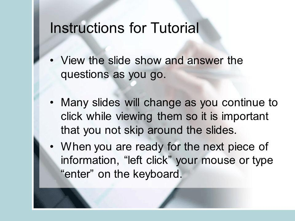 Instructions for Tutorial
