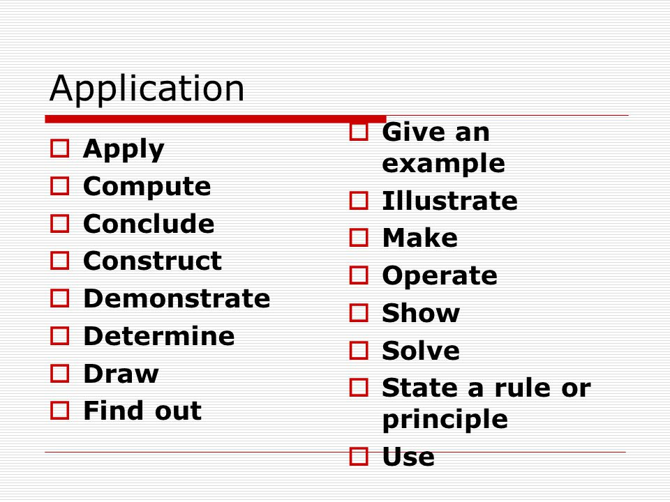 Application Give an example Apply Compute Illustrate Conclude Make