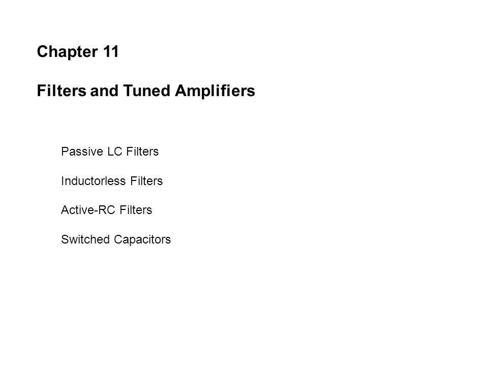 Filters and Tuned Amplifiers