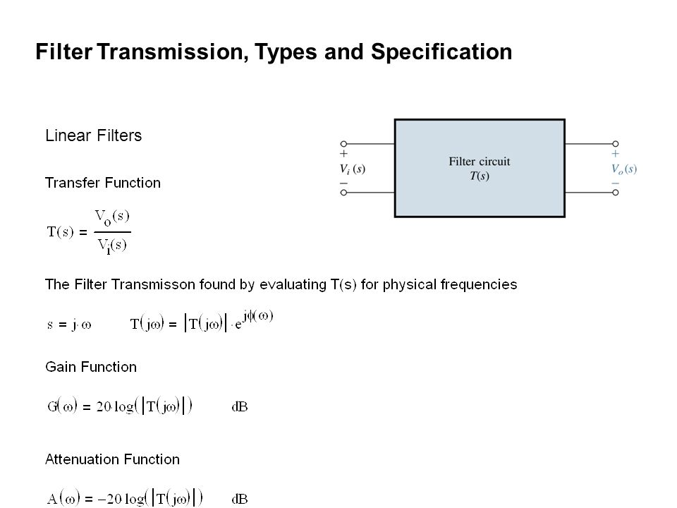Filter Transmission, Types and Specification