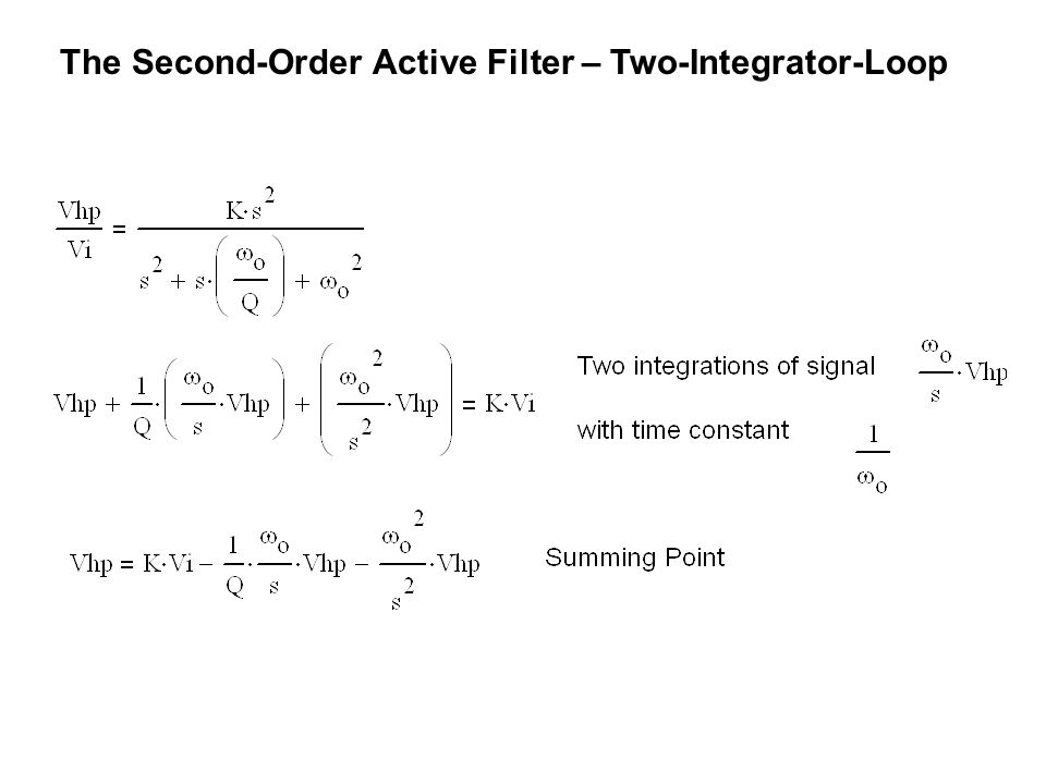 The Second-Order Active Filter – Two-Integrator-Loop