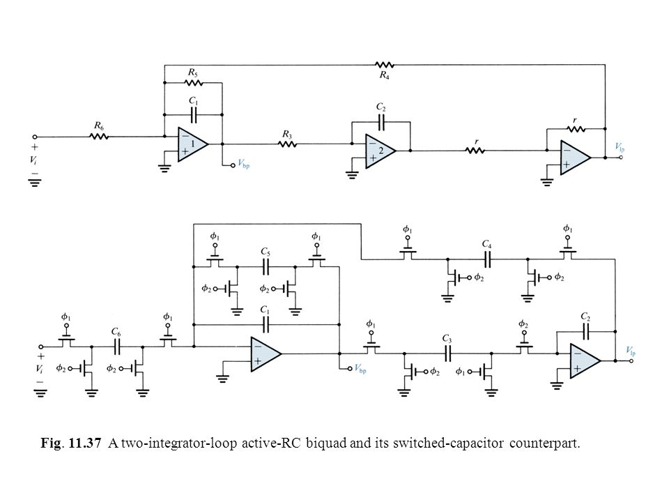 Fig. 11.37 A two-integrator-loop active-RC biquad and its switched-capacitor counterpart.