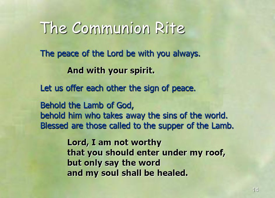 The Communion Rite The peace of the Lord be with you always.