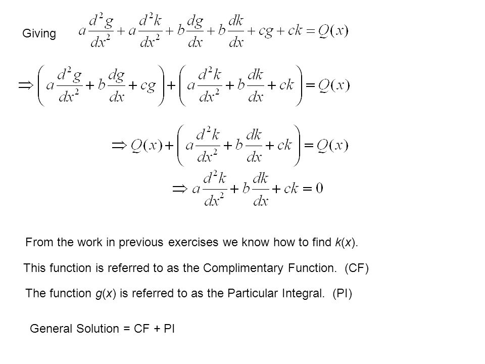 Giving From the work in previous exercises we know how to find k(x). This function is referred to as the Complimentary Function. (CF)