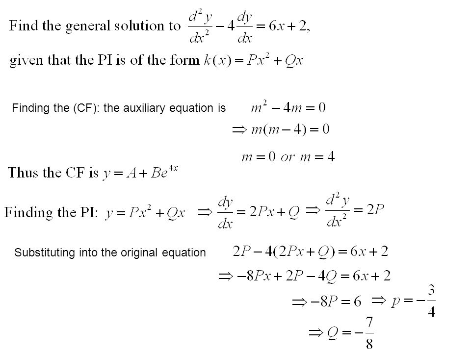 Finding the (CF): the auxiliary equation is