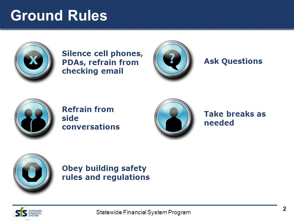 Ground Rules Silence cell phones, PDAs, refrain from checking email