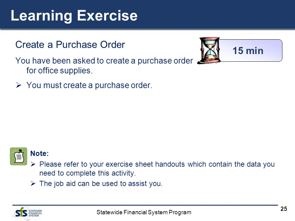 Learning Exercise Create a Purchase Order 15 min