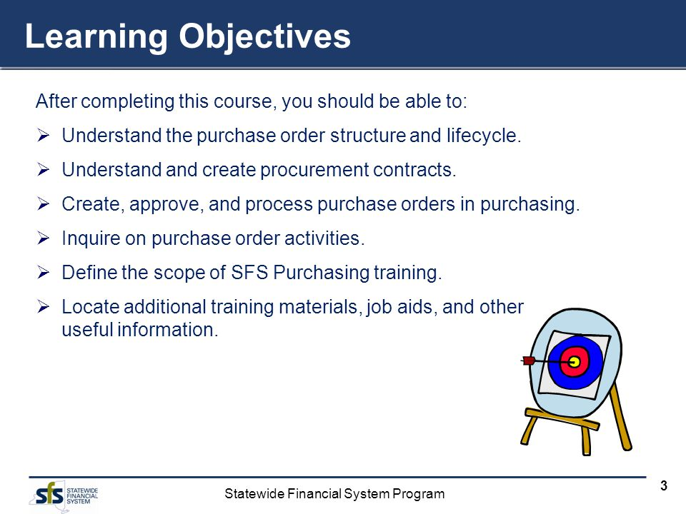 Learning Objectives After completing this course, you should be able to: Understand the purchase order structure and lifecycle.