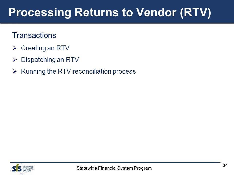 Processing Returns to Vendor (RTV)